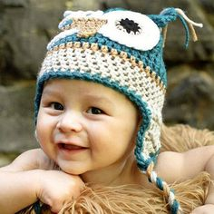 Handmade Baby Cute Crochet Knitted Owl Hat | Mini Booties