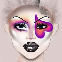 Goth Makeup, Diy Makeup, Makeup Inspo, Makeup Face Charts, Mac Face Charts, Makeup Illustration, Face Paint Makeup, Creative Makeup Looks, Colorful Eye Makeup