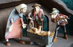 "Kastlunger Nativity Scene with Flute Player - from yonderstar;  handcarved wooden nativity by LEPI workshops in Italy after the original models by master woodcarver Harald Kastlunger;  made to 5.25"" scale"