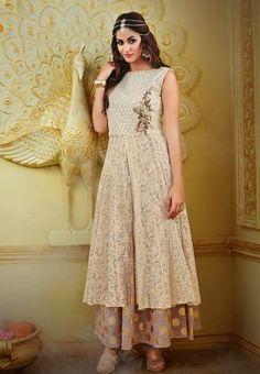 LadyIndia.com # Anarkali, Shanaya Fabulous Cream Brasso Net Kurti / Kurta Designer New Fashion Style Net Kurti, Kurtis, Kurtas, Cotton Kurti, Anarkali, A-Line Kurti Designer Kurti, https://ladyindia.com/collections/ethnic-wear/products/shanaya-fabulous-cream-brasso-net-kurti-kurta-top-designer-new-fashion-style-net-kurti?variant=30039328845