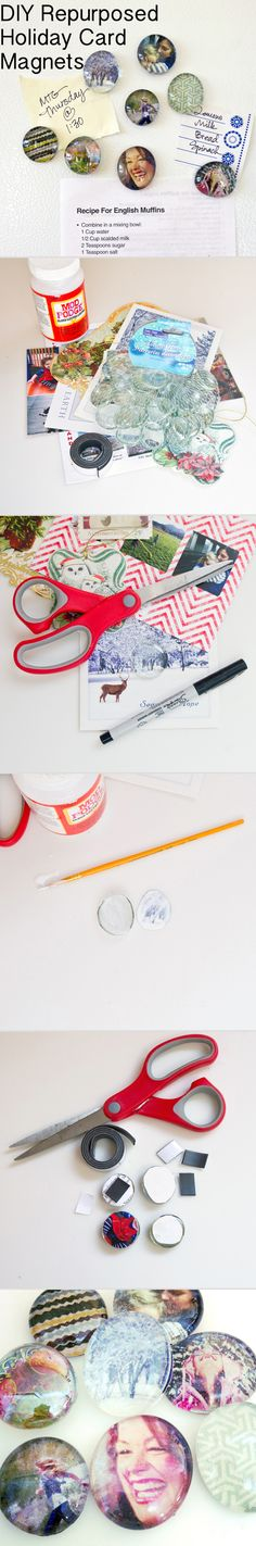Simple project for kids: make magnets out of holiday cards. Teaches them how to recycle, too!