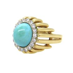 1960s Turquoise Diamond Gold Ring | From a unique collection of vintage more rings at https://www.1stdibs.com/jewelry/rings/more-rings/