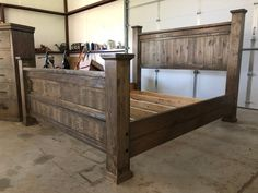 Queen size pallet headboard and footboard with frame in