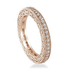 Amazon.com: Pave-Set Diamond Eternity Ring In 18K Rose Gold With Milgrain Border (0.54 - 0.64 cttw.): B2C Jewels: Jewelry