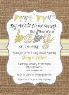 gender neutral baby shower invitations burlap yellow gray bunting banner baby                                                                                                                                                                                 More