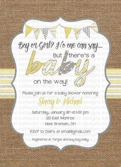 gender neutral baby shower invitations burlap yellow gray bunting banner baby