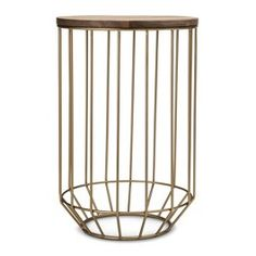 Threshold™ Gold Wire and Wood Accent Table