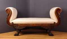 Fainting Couch w carved cabriole feet & swan neck. Possibly American : Lot 408