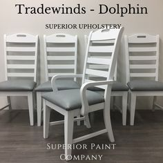 New vegan leather upholstery by Superior Paint Co. Grey Upholstered Dining Chairs, Vegan Leather, Nautical, Upholstery, Paint, Furniture, Collection, Home Decor, Navy Marine