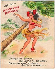 Vintage Greeting Card Hula Dancer Hawaiian Hawaii O206 | eBay