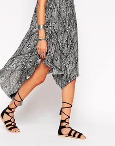 Feel The Power Suede Lace Up Flat Sandals