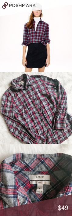 """J. Crew Boy Shirt in Grey Tartan Classic and comfy plaid shirt from J. Crew. Grey tartan pattern. Size 4. Excellent condition, but button placket needs to be ironed. No pilling and no damage. ----------- Much better than stealing his. Body length: 27 1/4"""". Cotton. Long roll-up sleeves. Functional buttons at cuffs. Shaping seams at the bust. Machine wash. Import. J. Crew Tops Button Down Shirts"""