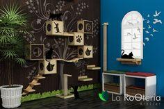 Móveis para gatos, playground com arranhador, nicho, escada, ponte prateleira e toca.