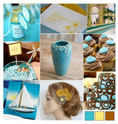 Yellow brown and blue color inspiration for the giraffe party