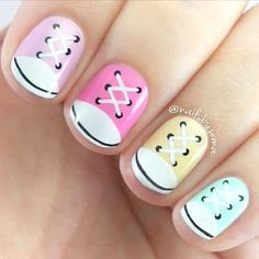 pOlish 'Converse Nails' features Twinkle, Candy, Mellow Yellow & Tiffany' by Nails by Jema! Nails For Kids, Fun Nails, Pretty Nails, Kids Manicure, White Manicure, Trendy Nail Art, Cute Nail Art, Pedicure Designs, Nail Art Designs