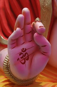 SKC 0610 The palm of blessings by Sunil Kapadia on bb A close-up of the palm of an idol of Lord Ganesh the Hindu God with Om meaning welcome the Gods painted in red on it and with big fingers and a ring on the index finger and as if giving blessings Jai Ganesh, Ganesh Lord, Ganesh Idol, Shree Ganesh, Ganesha Art, Krishna Art, Shri Ganesh Images, Ganesha Pictures, Lord Ganesha Paintings
