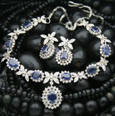 6.38 CT Diamond 13.44CT Blue Sapphire 14K Gold Necklace