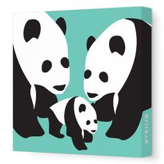 "Avalisa Animals Three Pandas Stretched Canvas Art Size: 12"" x 12"", Color: Orange"