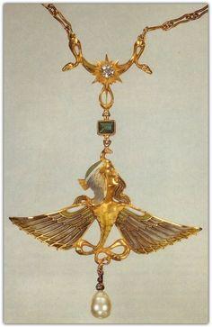 René Lalique | Pendant/ Necklace (n.d.). Gold, Emerald, Plique-à-jour enamel, Pearl and Diamond.