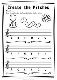 Treble Clef Note Naming Worksheets for Spring * Anastasiya Multimedia Studio Music Lessons For Kids, Music For Kids, Bass Clef Notes, Music Theory Worksheets, Violin Lessons, Piano Teaching, Music Activities, Music Classroom, Music Math