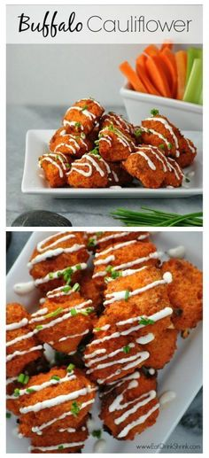 Baked Buffalo Cauliflower Bites with vegan blue cheese Delicious! Will use this recipe again. I used some Trader Joes Spinach & Kale dip instead of Vegan blue cheese. Baked Buffalo Cauliflower, Cauliflower Recipes, Veggie Recipes, Whole Food Recipes, Vegetarian Recipes, Cooking Recipes, Healthy Recipes, Cauliflower Cheese, Chicken Recipes