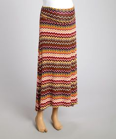 This Red & Rust Zigzag Maternity Maxi Skirt by Mom & Co. is perfect! #zulilyfinds