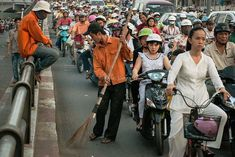Vietnam. Ho Chi Minh City. Motorcycles during afternoon rush hour