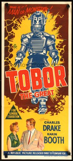 Tobor the Great (Republic Pictures) Classic Sci Fi Movies, Republic Pictures, Classic Monsters, Retro Futuristic, Vintage Horror, Fantasy Movies, Retro Art, Vintage Movies, Science Fiction