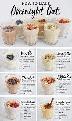 Meal prep just got easier with this collection of 6 simple, delicious and healthy overnight oat recipes! Perfect for on-the-go, these recipes won't disappoint! # Easy Recipes healthy 6 Overnight Oats Recipes You Should Know For Easy Breakfasts — Andianne Good Healthy Recipes, Healthy Drinks, How To Eat Healthy, Easy Healthy Meal Prep, Healthy Oatmeal Recipes, Grocery List Healthy, Easy Healthy Lunch Ideas, Simple Recipes, Healthy Late Night Snacks