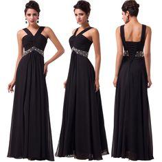 Black Long Chiffon Formal Wedding Evening Prom Bridesmaid Ball Gown Party Dress  #GraceKarin #BallGown #Cocktail