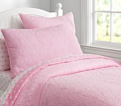 Leslie Quilted Bedding - Pink