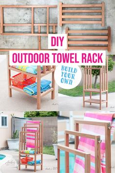 Add a DIY outdoor towel rack to your backyard with this easy and quick build. The step by step tutorial and plans show you how to build a towel rack with shelves. It is the perfect poolside towel holder. It can also be used indoors as a freestanding towel rack. #towelrack #outdoorfurniture #AnikasDIYLife Kreg Jig Projects, Beginner Woodworking Projects, Diy Woodworking, Wood Projects, Diy Rack, Spa Towels, Diy Spa, Wood Working For Beginners, Wood Crafts