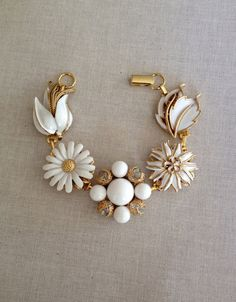 Repurposed white vintage earring bracelet by ChicMaddiesBoutique