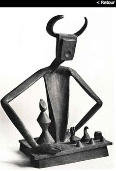Max Ernst - Masterpiece. Max Ernst's major bronze, created in 1944 and entitled «The King playing with the Queen». Limited edition of 9. Format of 101x81x54cm