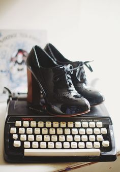 LOVE these Chloe's. I wish I had somewhere, anywhere to wear them and the money to afford them. I am definitely going to look for something similar that might be more in my budget!   - Oh goodness they are on top of a typewriter! I love oxfords...and typewriters...need these...