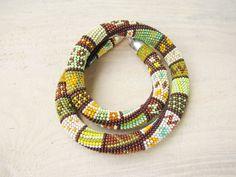 Beaded crochet necklace green brown necklace by DolgovaSvetlana, $72.00