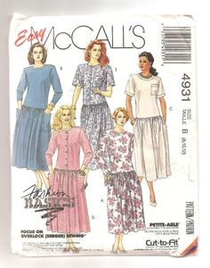 Patron de robe ample des années 1990 McCall's 4931 Robe taille basse Manches…