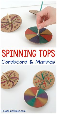Make Spinning Tops with Cardboard and Marbles - Frugal Fun For Boys and Girls - Diy and crafts interests Diy Projects For Kids, Crafts For Boys, Diy For Girls, Easy Crafts, Art For Kids, Cardboard Crafts Kids, Cardboard Toys, Paper Toys, Cardboard Playhouse