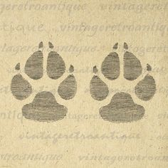 Dog Paw Prints Digital Image Graphic Illustration Printable Download Vintage Clip Art. Digital illustration for printing, transfers, tea towels, pillows, papercrafts, tote bags, and other great uses. Great for use on etsy items. This digital graphic is high quality, high resolution at 8½ x 11 inches. Transparent background version included with all images.