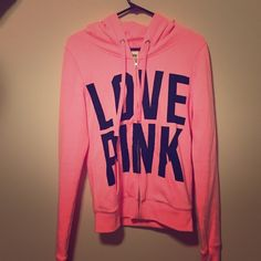 LOVE PINK HOODIE WORN ONCE! BASICALLY NEW!!! Super cute and great for this summer GET IT TODAY FOR A GREAT PRICE!!! PINK Victoria's Secret Jackets & Coats