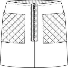 Flat Fashion Sketch Skirt