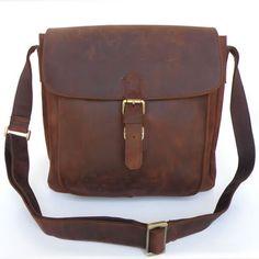 Vintage Handmade Antique Crazy Horse Leather Messenger Bag / Satchel / Ipad Bag