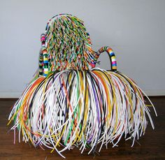 Multi dreadlock Chair by Joel D'Orazio, Painted wood & cane chair with multicolored cable. - $6,875.00