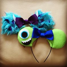 Mike and Sully Disney ears made for a Monsters Inc. themed party