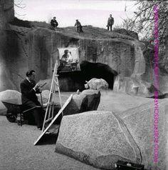 Paris, mai 1955, pendant le tournage du film L'histoire prodigieuse de la Dentellière et du Rhinocéros : Dali au zoo de Vincennes, peignant une version paranoïque-critique du célèbre tableau de Vermeer face au rhinocéros François.