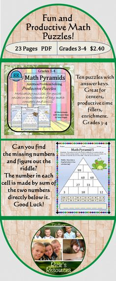 These little puzzles are a great for kids to have fun in a productive way. The Math Pyramids focus on addition problem solving. Students determine the values for the blank cells. This is done by recognizing that the value of a cell is made by adding the two numbers directly below it. Once the cell values are determined, the numbers can be matched to letters in the key. The identified letters can be arranged to form the answer to a riddle.Great for centers, enrichment, productive time…