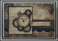 Carolyn King: Clockworks Trio Masculine Birthday Cards, Birthday Cards For Men, Masculine Cards, Male Birthday, Boy Cards, Men's Cards, Shabby Chic Cards, Retirement Cards, Collage Vintage