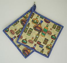 Quilted Potholders for the Gourmet Cook Set of 2 by ISewTotes