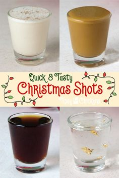 christmas drinks Leave a few Christmas Shots for Santa and see what its like to be on the nice list! Enjoy for different shot recipes with cinnamon, chocolate, eggnog and butterscotch flavors Christmas Drinks Alcohol, Christmas Shots, Christmas Cocktails, Holiday Drinks, Fun Drinks, Yummy Drinks, Holiday Recipes, Mixed Drinks, Christmas Recipes