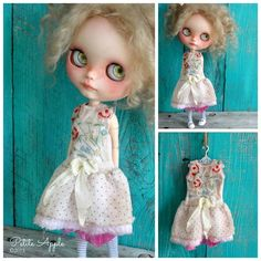 Blythe doll outfit *English garden* OOAK vintage embroidered dress